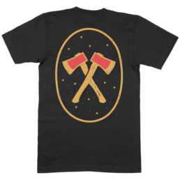 Black tee with gold and red print