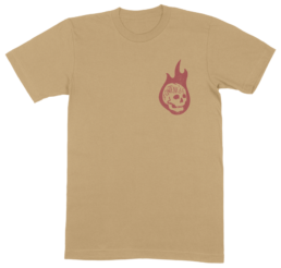 Gold tee with red ink