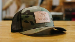 Baseball cap with a leather patch